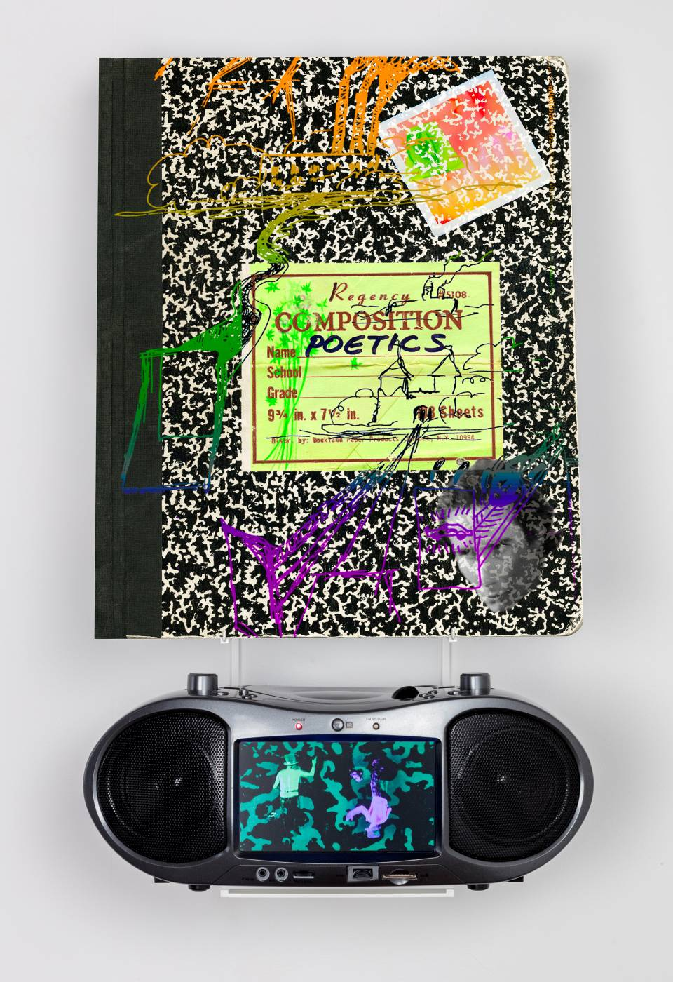 A notebook and a boombox