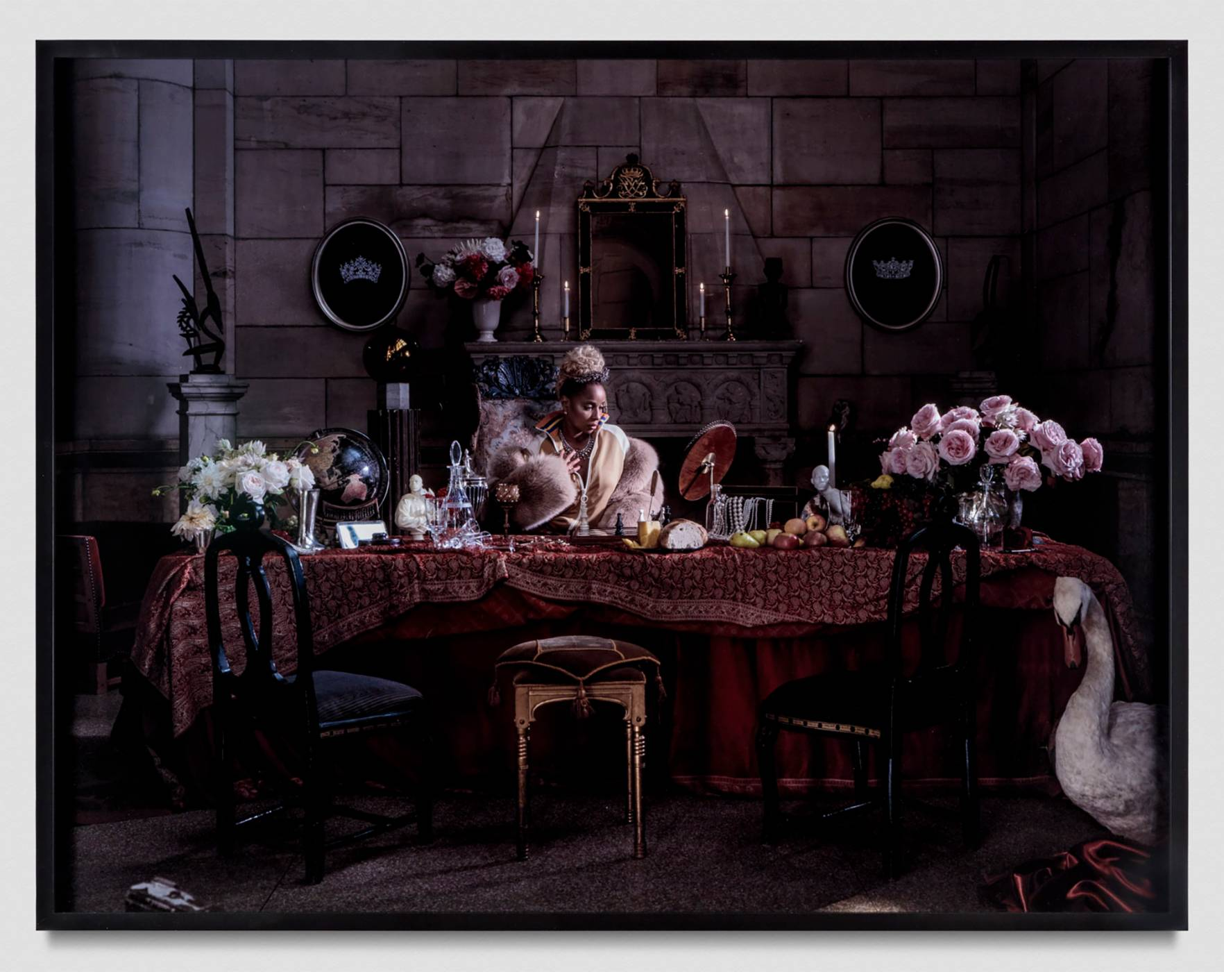 Painting with woman among luxury items and swan